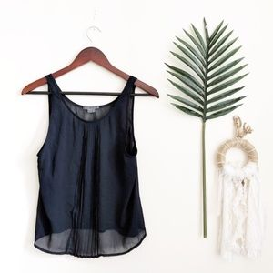 Vince Pleated Front Navy Polyester Tank